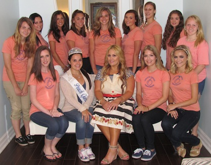 Contestants pose with Stephanie Signorelli from the Makeup Parlour and reigning Peach Queen Ali Casale.