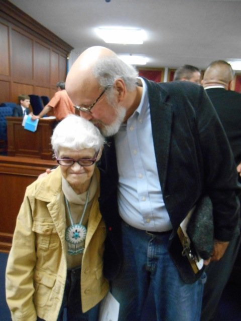 Environmental activist Shirley Nicholas of Lockport is thanked by RRG's Tim Henderson following her remarks before the Niagara County Legislature, calling for its continued funding of environmental attorney Gary Abraham. The legislature went on to table the matter.