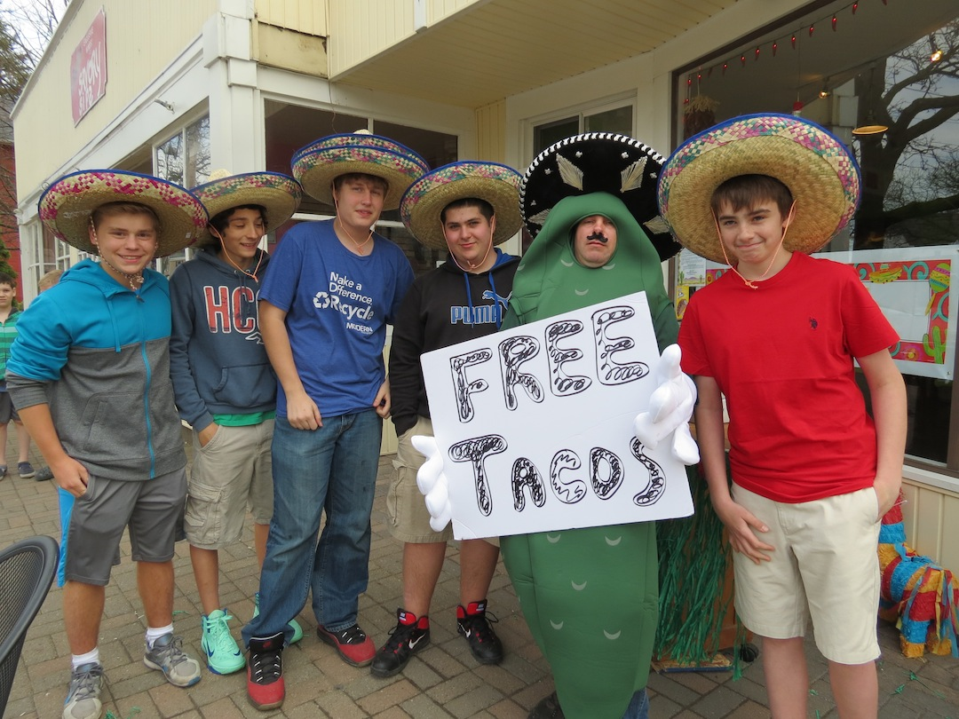 Lewiston-Porter students couldn't resist free tacos at The Spicey Pickle in Lewiston.
