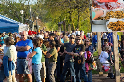 Long lines are the norm at the Lewiston Smelt Festival as people wait for a free sample of the salty, crunchy, delicious fish. Fortunately, servers move people in and out rather quickly. (file photos)