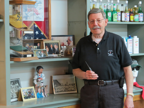Village of Lewiston Mayor Terry Collesano will celebrate 13 years at Olde Time Barber Shop on Wednesday.