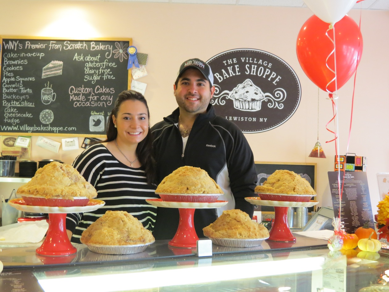 Mike and Lindsay Fiore at The Village Bake Shoppe in Lewiston.