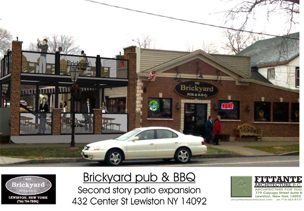 Pictured is a drawing of The Brickyard Pub & B.B.Q.'s proposed addition at 432 Center St. (Image courtesy of Fittante Architecture P.C.)