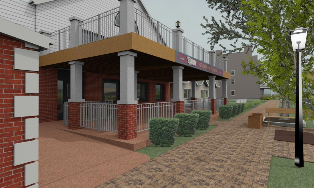 Shown is a sketch of Brio Pizzeria & Restaurant's proposed addition at 440 Center St. (Image courtesy of Giusiana Architects & Engineer.)
