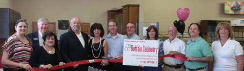 Pictured, from left: Niagara River Region Chamber of Commerce President Jennifer Pauly, Niagara County Legislator David Godfrey, Diane Carney of WNY Town & Country Real Estate, Village of Lewiston Trustee Bruce Sutherland, Anne Daggett and Chris Connelly of Buffalo Cabinetry, Fred Blue of Great Lakes Real Estate, Gloria Baker of First Niagara Bank, Jeff Stolar of Gorge Travel, Gene Colucci of Gene's Wholesale (and president of the Town of Niagara Business an Professional Association), and Karen Bushen of Wilbedone Inc.