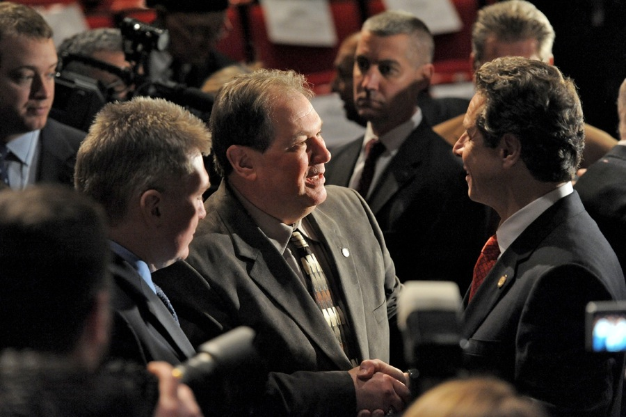 Assemblyman John Ceretto (left) met Tuesday with Gov. Andrew Cuomo.