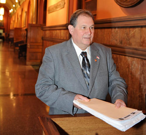 Assemblyman John Ceretto delivers his `Empower Niagara` petitions to Gov. Andrew Cuomo's office in Albany.