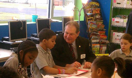 Assemblyman John Ceretto helps Niagara Charter School students make Valentine's Day cards that will be distributed to seniors through the region's Meals on Wheels program.