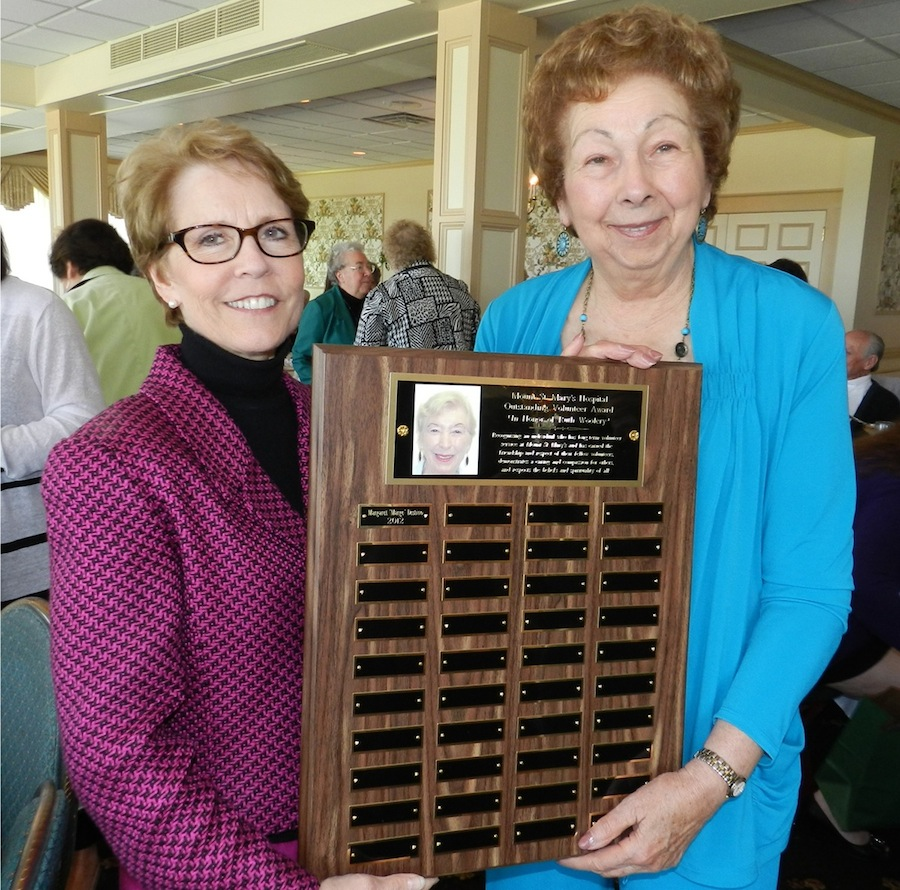 One of the main awards presented was the Outstanding Volunteer Award in honor of the late Ruth Woolery. Ruth was a volunteer for more than 42 years and passed away last fall. The award was presented to Margaret Destino of Lewiston who has volunteered in the Mount St. Mary's Gift Shop for 27 years. Pictured is Judy Maness, president and CEO (left), and Margaret (right).