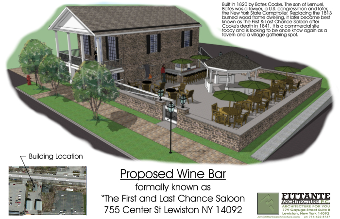 A sketch of the proposed wine bar at 755 Center St. (Drawing courtesy and copyright of Fittante Architecture P.C.)