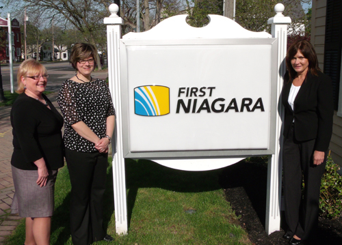 At right, Lewiston Branch Manager Gloria Baker, with First Niagara staffers.