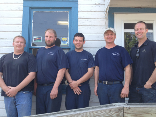 Pictured, from left, are Heritage Auto workers Jeff Zahno (office manager), Mike Cutlip (mechanic), David Evans (mechanic), Tim Boos (mechanic and shop manager) and Alan Hastings. Heritage Auto is located at 201 Lockport St., Youngstown.