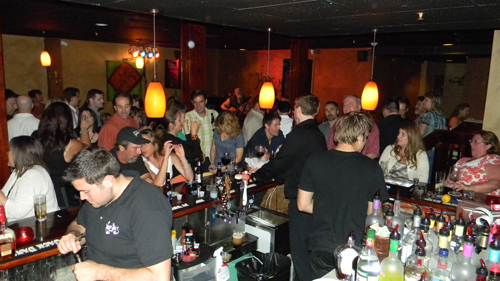 A busy bar scene on Friday night.