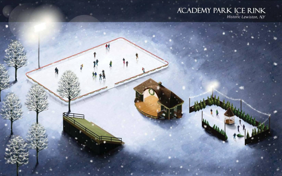 An artist's rendering of the new Academy Park temporary ice rink the Town and Village of Lewiston will open next month.