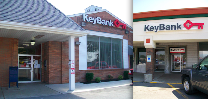 The HSBC banks on Niagara Falls Boulevard in the Town of Niagara and Center Street in Lewiston were converted into KeyBank branches over the weekend.
