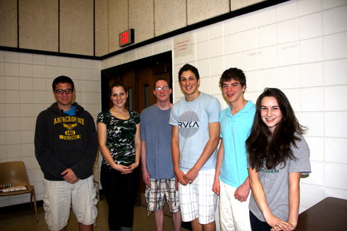 As part of Music in Schools Month, the Lew-Port Board of Education recognized music students who were named to All State and All Region musical groups. Among the students honored at the meeting were, from left, Benjamin Stayner, Kaitlyn Sorenson, Austin Swart, Nate Christman, Collin Kemeny and Sara DiFiore. (photo by Janet Schultz)