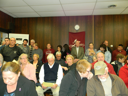 Lewiston Police supporters filled the village meeting room to capacity and spilled out into the Red Brick Municipal Building hallway at Monday's session.