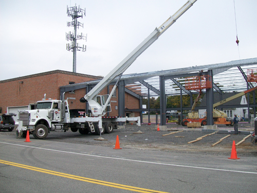 Visible work continued this week outside of Lewiston No. 1 Volunteer Fire Co.,'s North Sixth Street firehall.