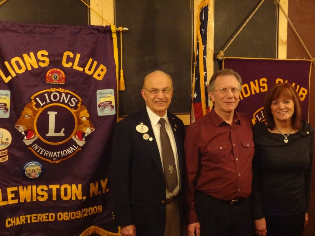 Pictured left to right: Lion Clancy Berquit, Lion John Mayhue and Lion Mary Mayhue.