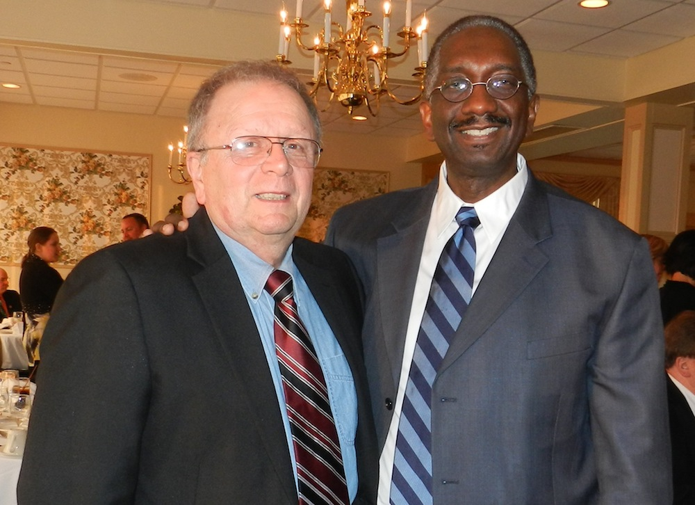 John Malinchock, left, a more than 30 year volunteer in the EMS community in Niagara and New York state, was recently recognized by Mount St. Mary's Hospital at an awards' dinner spotlighting EMS volunteers in Niagara. Dr. Lloyd Brown, chief of the Department of Emergency Medicine/EmStar, made the presentation at a dinner attended by more than 100 at the Niagara Falls Country Club.
