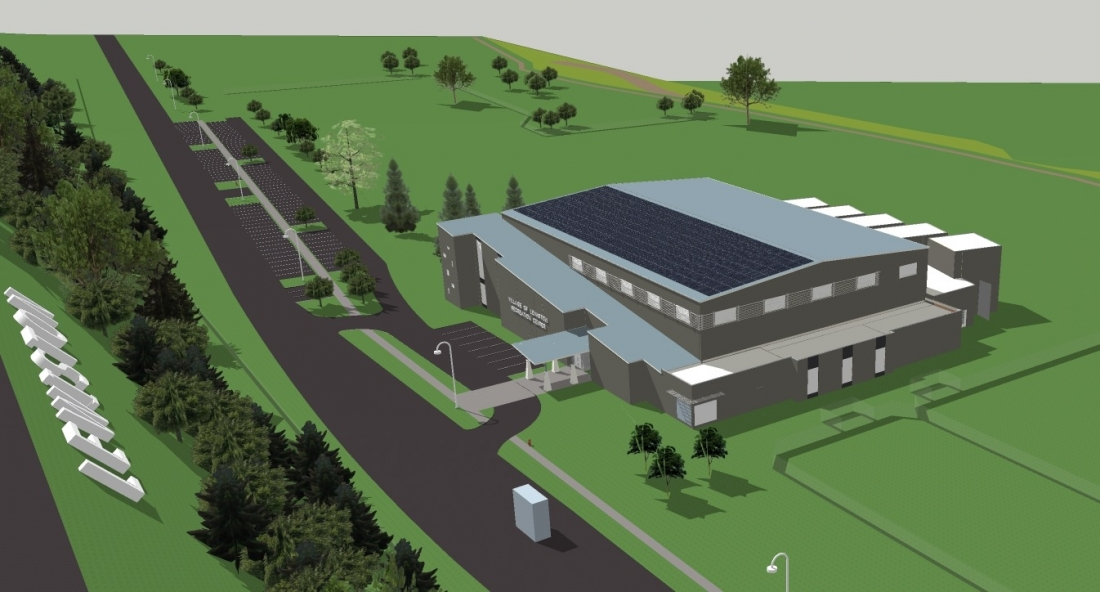 The second recreation center proposal showed the complex at the Lewiston plateau, not the Red Brick. (Working image courtesy of Giusiana Architects & Engineer)