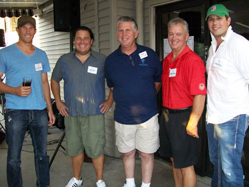 Taking a break from last year's Celebrity Bartending festivities are (from left to right): Jay McKee, Buffalo Sabres alumnus; Nicholas Picholas, Kiss 98.5; Gary Strenkoski of Strenkoski Brothers Construction; and Buffalo Sabres alumni Richie Dunn and Andrew Peters.