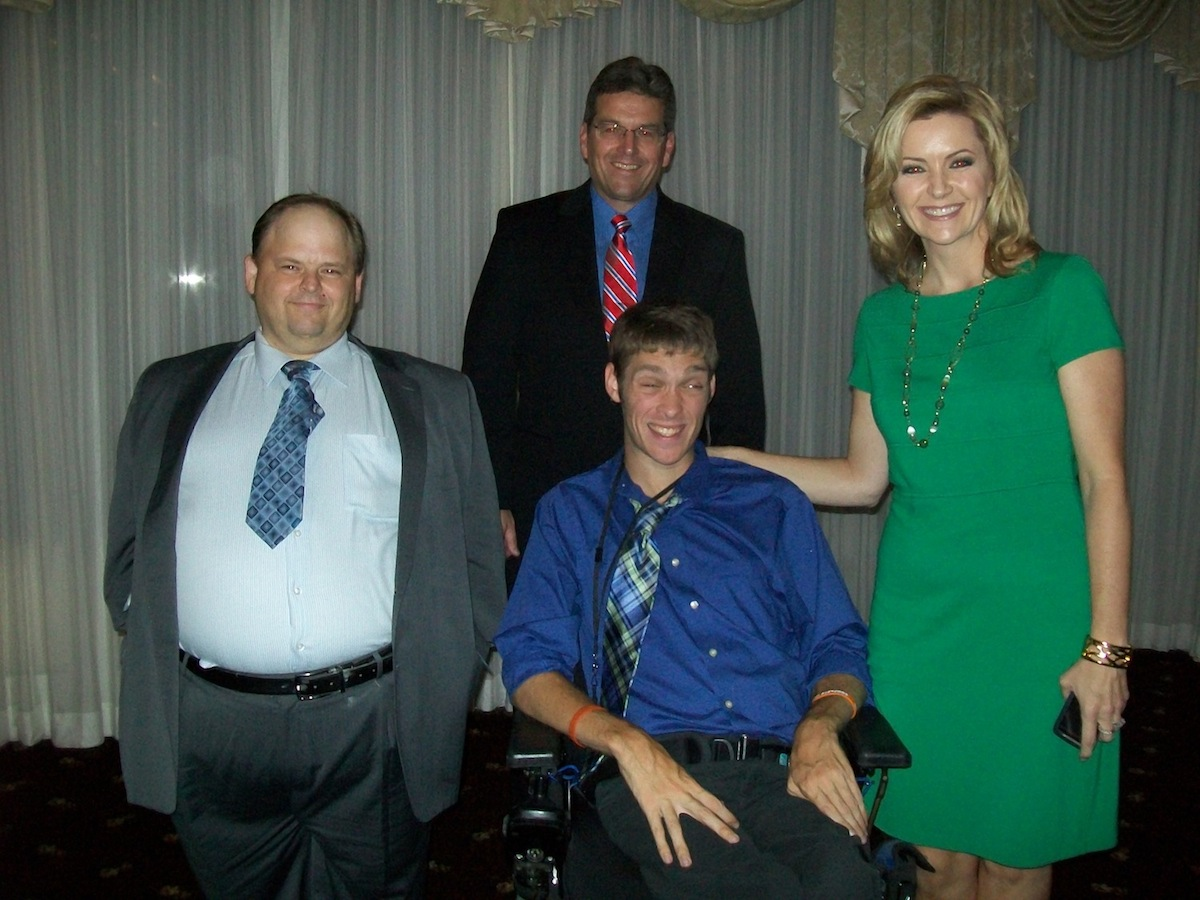Rivershore Inc. Executive Director Jeff Sanderson (back row, center) was joined Wednesday by Aktion Club standout Richard Hermanson (left), TV and Web star Zach Anner (front row, center) and WGRZ's Maryalice Demler at the gala event `Pathways to Excellence` (photos by Joshua Maloni)