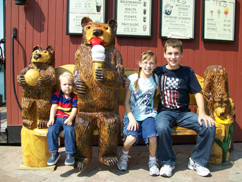Pictured with The Silo's new ice cream bears are Joshua, 2, Heidi, 11, and Caleb, 13, of Olatha, Kan.