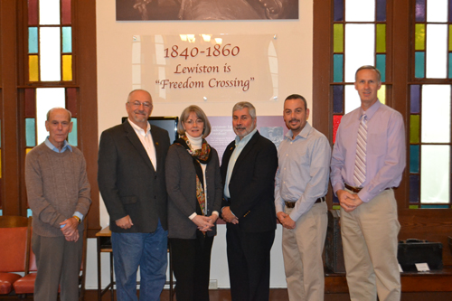 In the photo, from left, are major donors Ed Rosiar of Cornerstone Community Federal Credit Union; Bruce Sutherland, HAL president; Pam Hauth, HAL executive director; Tom Pryce of the Niagara Falls Bridge Commission; Mark Rivera of Kinetic Kitchen and Bath; and Bruce Andrews of Great Lakes Real Estate. Major sponsors not pictured include Niagara Frontier Publications; Wegmans - Niagara Falls; Niagara County Community College; Sevenson Environmental Services Inc.; and Modern Corporation.