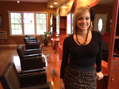 Cosmetologist and stylist Hollianne Balk is pictured above and featured in the videos.