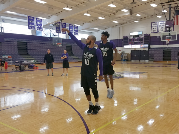Kahlil Dukes watches his jump shot fly in practice as Niagara prepares to face their next opponent.