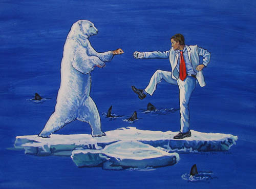 Image credit: `Polar Bear and Man`; 2009, oil on canvas.