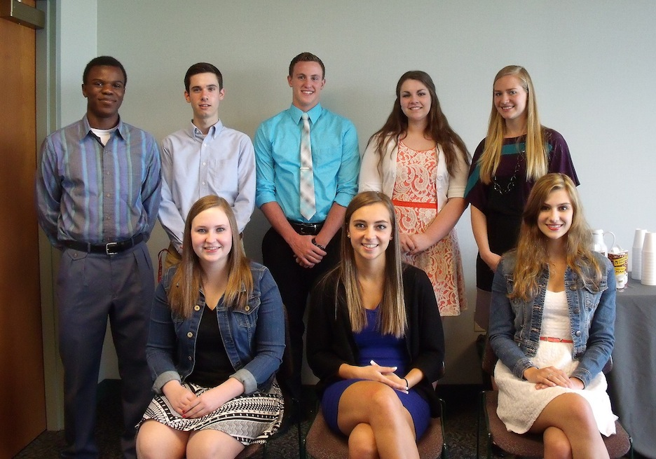 Photo caption: (left to right, seated): Lauren Edbauer, Kennedy Smith and Brooke Cummings; (left to right, back row): Nse Obot, William Blackley, Alec Toth, Alicia Britton and Marisa Walck. Not pictured: Isaiah Barrett and Evan Conley