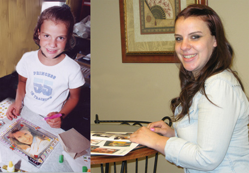Camp Hope camper Samantha Tremko, 12 years ago (left), works on an art project; now 20 years old (right), she is a Camp Hope volunteer. She's pictured reminiscing with her 2002 Camp Hope yearbook.