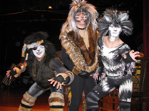 Above, from left, are Max Antone as Growltiger, Shawn Beghtol as Rum Tum Tugger and RJ Crossley as Munkustrap in Niagara-Wheatfield High School's production of `Cats,` running March 17 to 19.