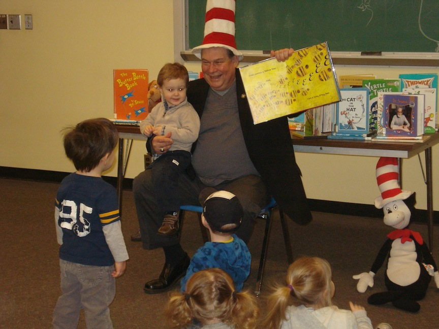 Assemblyman John Ceretto reads Dr. Seuss' `My Many Colored Days` at the North Tonawanda Library.