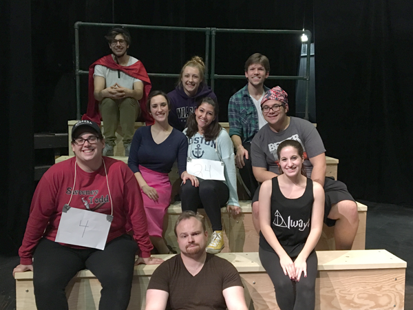The cast of `The 25th Annual Putnam County Spelling Bee.` From left to right, top row: Dylan Zalikowski, Carly L. Weldy and David Wysocki. Middle row: Kayla Storto, Shelby Ehrenreich and Charles McGregor. Bottom row: Ronnie Stewart, Brandon Czerwinksi and Sabrina Kahwaty.