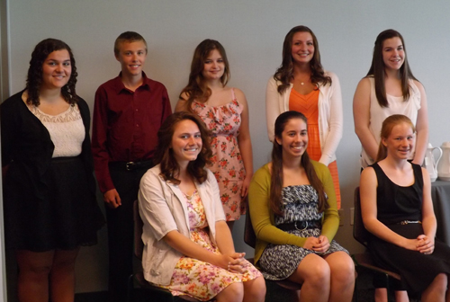 Pictured, left to right, seated:  Lauren Wager, Stephanie DiCarlo and Meghan Menz; back row, from left: Jamie Woodley, Edmund Pfeil, Allison Adair, Hailey Stapleton and Sarah Thompson. Absent: Kaitlyn Chapman and Brittany Cummings