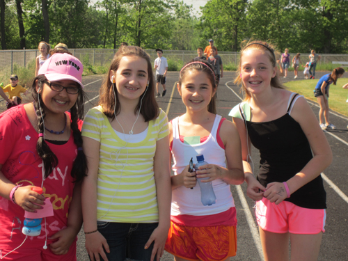Shown from left are Edward Town Middle School walkers Nikita Verma, Katie Miano, Kelsey Klosko and Jillian Lum.