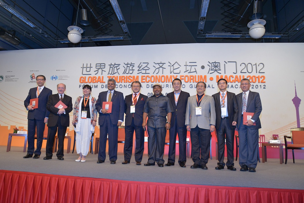 NU Expert-in-Residence Eddie Friel (second from left) is pictured with keynote speakers and members of the panel consisting of representatives from Eastern Europe, United Arab Emirates, South Africa, Macau and members of the Chinese organizing committee. The panel was chaired by Vijay Poonoosamy (fourth from left) vice president of international and public affairs, Etihad Airways, UAE and chair - IATA Industry Affairs committee.
