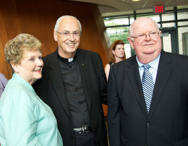James and Mary Glynn with the Rev. Joseph L. Levesque, C.M., Niagara University president, after announcing a $2 million gift from the Glynn family. The gift will support important initiatives of the university, including the establishment of the Vincentian Scholars Program.