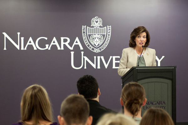 Lt. Gov. Kathy Hochul speaks at Niagara University Monday.