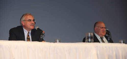 Michael Gentile and Kenneth Fox answer questions submitted by Lew-Port students at the 2011 Board of Education Candidates Night.