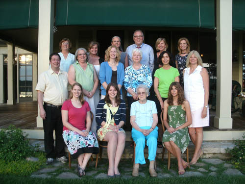 The board of directors of Lewiston Porter Community Ambassador Program shown with past recipients. In the front row are past ambassadors (from left) Victoria Russell, who traveled to Botswana in 2008; Shannon McDonald, who traveled to Turkey in 2010; and Amy Law (at right), who traveled to Thailand in 2009. Shown second from right is Milly Reeves, a member of the LPCAP board for the entire 56 years of its existence.