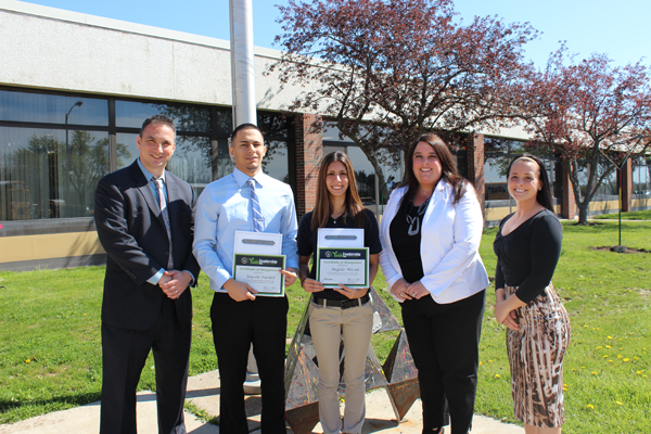 Angela Micale of Niagara-Wheatfield and Jayson Parker of Niagara Falls display their New York State Senate's Youth Leadership awards alongside Niagara Career and Technical Education Center officials. From left: Principal Scott Bindemann, Parker, Micale, NCTEC Principal Anedda Trautman and security and law enforcement teacher Amber Chunco.