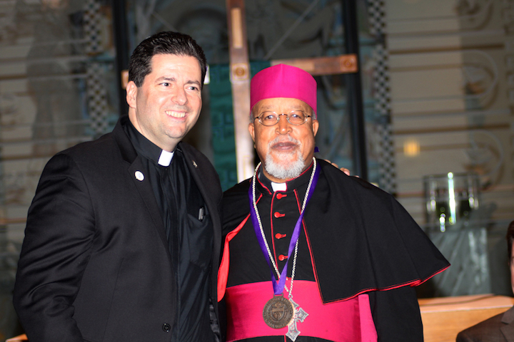 The Rev. James J. Maher, C.M., president of NU, left, stands with the Most Rev. Abune Berhaneyesus Demerew Souraphiel, C.M., archbishop of Ethiopia.