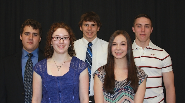 Distinguished student scholarship honorees are, from left: Tadeus Krupa (Lew-Port), Shannon Feeley (Newfane), Bryan Wojcinski (Lockport), Jennifer Szalay (Christian Academy of WNY) and Kevin Grzeskowiak (Niagara-Wheatfield).