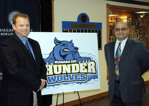 Bob McKeown, pictured at left, was named Niagara County Community College athletic director. He is shown with NCCC Vice President for Student Services Bassam Deeb at the announcement.