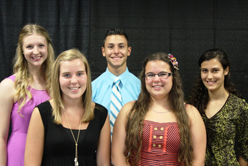 Distinguished Student Scholarship honorees are, from left, Rachel Winter and Jenna Minner from Lockport High School, Christopher Galvano from Niagara Wheatfield High School, Olivia Spitzer, from Royalton-Hartland High School and Maria Zupa from Wilson High School.