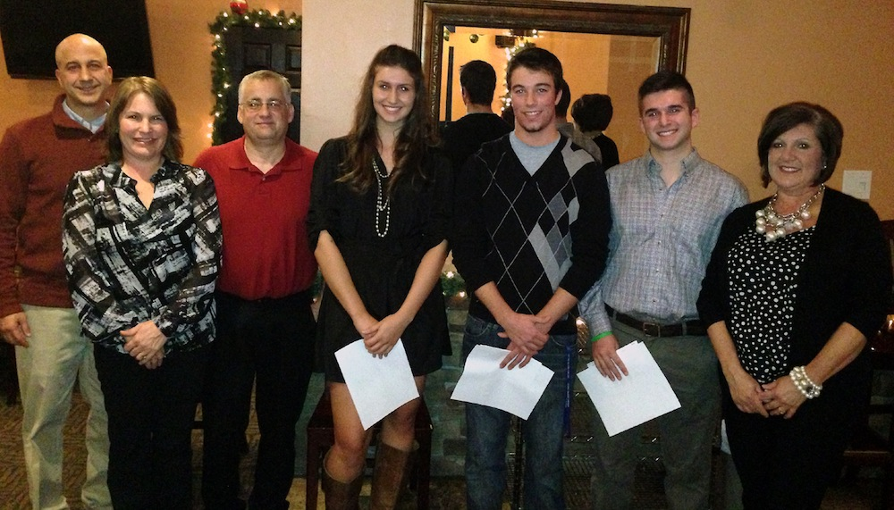 Pictured from left: Steve Zafuto, scholarship committee member; Dylan Gagnon's parents; Sarah Stanczyk; Alexander Ahne; Richard Minicucci; and Judy Villani, scholarship committee chairwoman.